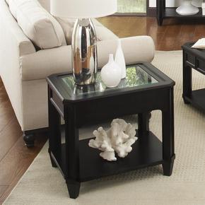 Farrington - Rectangular Glass Top Side Table - Black Forrest Birch Finish