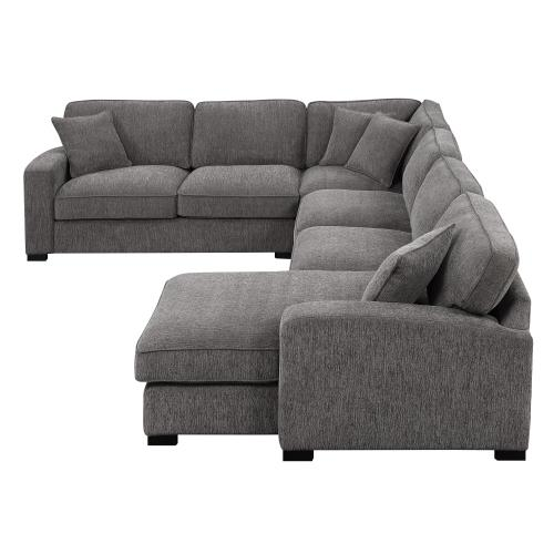 Emerald Home Repose 3pc Sectional W/4 Pillows-charcoal U4174-11-31-12-03-k