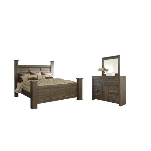 Ashley - King Poster Bed With Mirrored Dresser