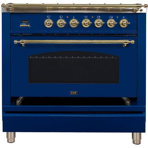 Nostalgie 36 Inch Dual Fuel Natural Gas Freestanding Range in Blue with Brass Trim
