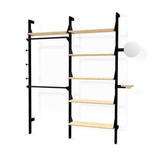 Branch-2 Display Unit Black Uprights Black Brackets Blonde Shelves