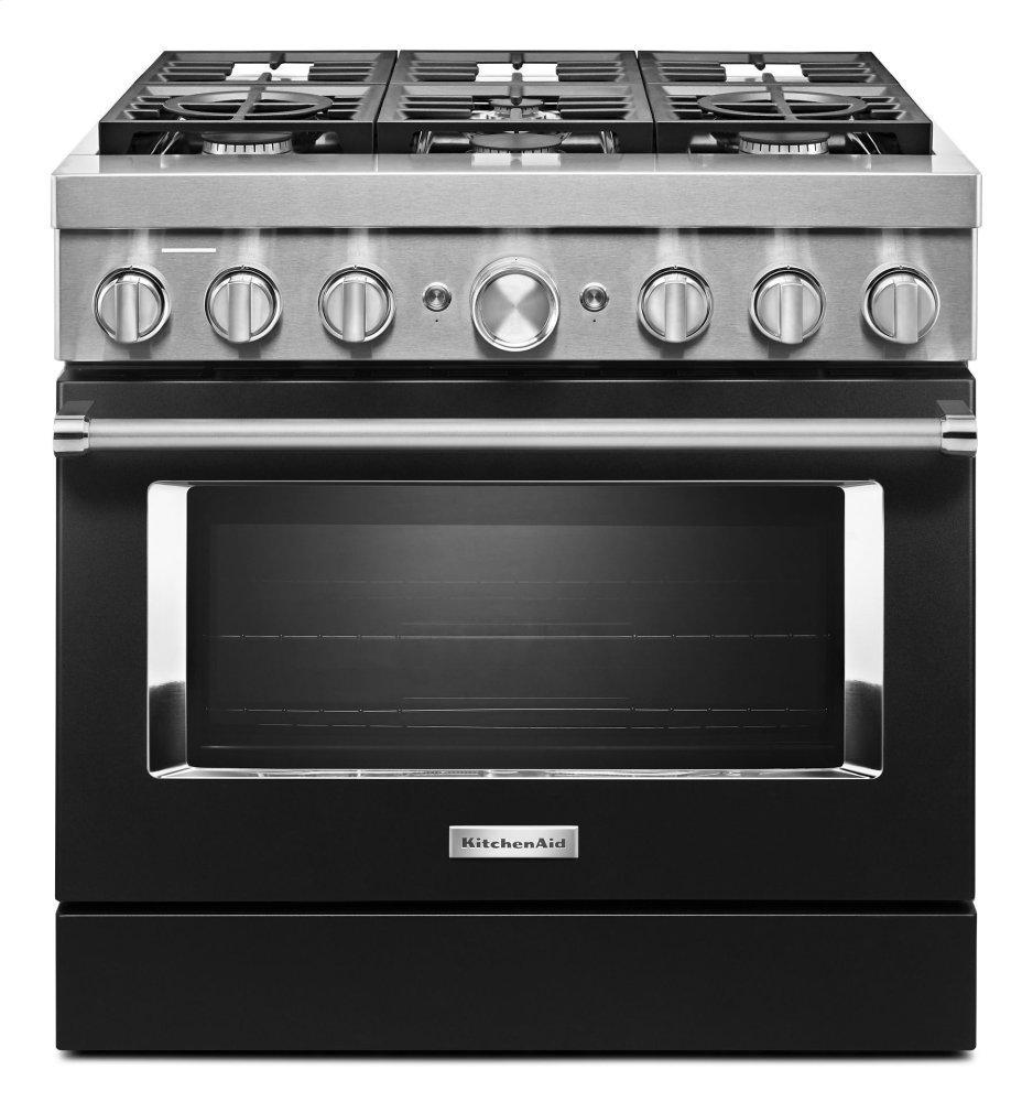 KitchenaidKitchenaid® 36'' Smart Commercial-Style Dual Fuel Range With 6 Burners - Imperial Black