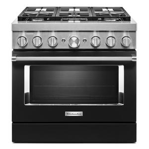 KitchenAid® 36'' Smart Commercial-Style Dual Fuel Range with 6 Burners - Imperial Black Product Image