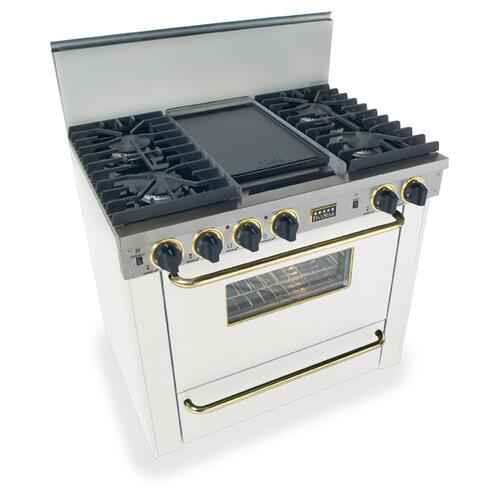 """Five Star - 36"""" All Gas, Convect, Sealed Burners, White with Brass"""