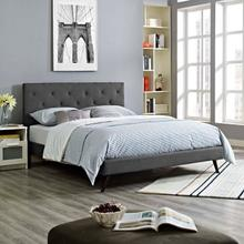 View Product - Tarah Queen Fabric Platform Bed with Round Splayed Legs in Gray