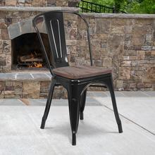 View Product - Black Metal Stackable Chair with Wood Seat