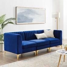 Triumph Channel Tufted Performance Velvet 3-Seater Sofa in Navy