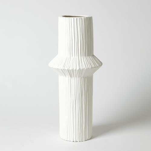 Ascending Ring Vase-Matte White-Mid