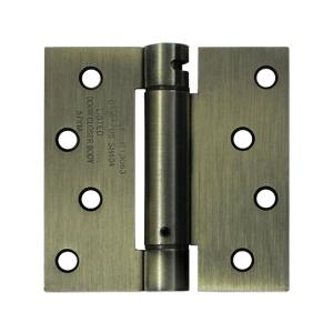 "4"" x 4"" Spring Hinge, UL Listed - Antique Brass"