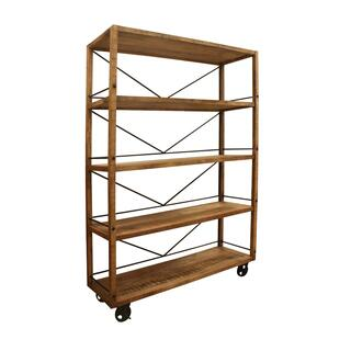 Winslow Mango and Metal Wheeled Bookshelf