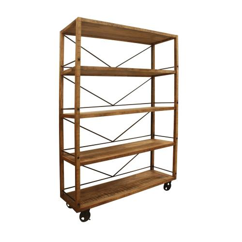 See Details - Winslow Mango and Metal Wheeled Bookshelf