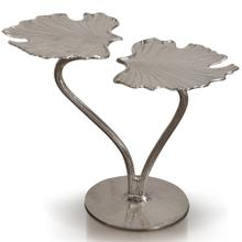 MONET SIDE TABLE  27in w. X 28in ht. X 16in d.  Nickel Plated Metal Side Table with Two Level Leaf