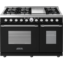 Range DECO 48'' Classic Black matte, Chrome 6 gas, griddle and 2 electric ovens