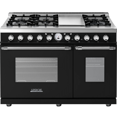 Superiore - Range DECO 48'' Classic Black matte, Chrome 6 gas, griddle and 2 electric ovens, self-clean