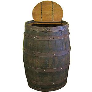 L.M.T. Rustic and Western Imports - Whiskey Barrel Trash Can
