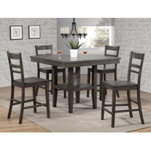DLU-EL4545C-B200-5PC  5 Piece Square Pub Table Set with Storage Shelf  Gray