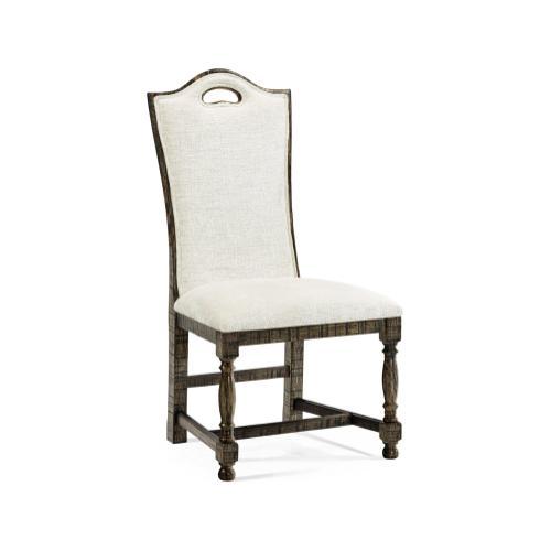 High Back Dark Driftwood Dining Side Chair, Upholstered in Shambala