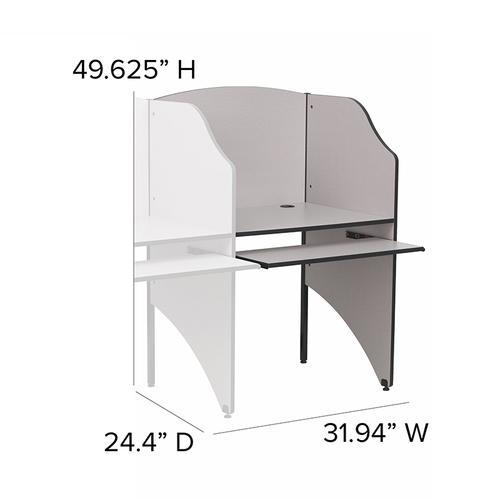 Flash Furniture - Add-On Study Carrel in Nebula Grey Finish