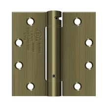 "4-1/2"" x 4-1/2"" Spring Hinge, UL Listed - Antique Brass"