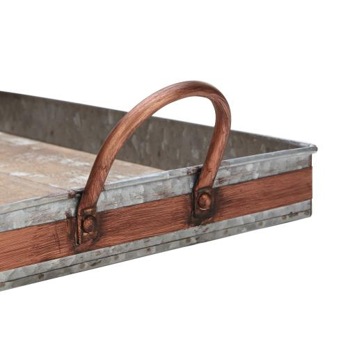 Yeter Wooden and Metal Serving Trays - Set of 2