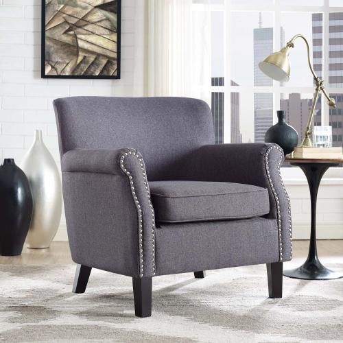 Province Upholstered Fabric Armchair in Gray