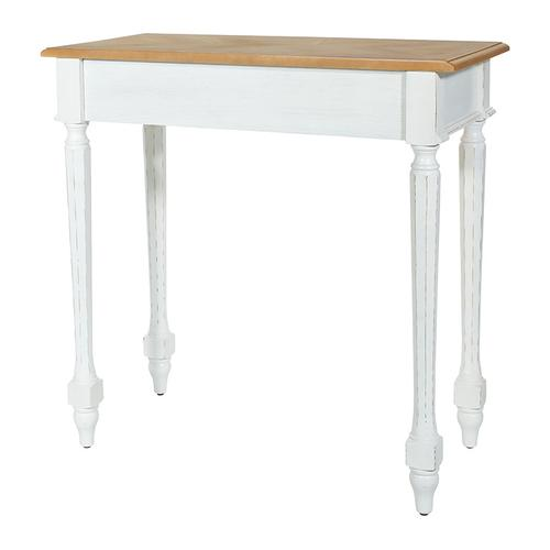Medford Foyer Table-white Distressed Frame With Natural Veneer Top