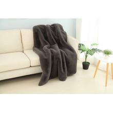 """See Details - Chinchilla Feel Faux Fur Throw - 50"""" x 60"""" / Charcoal Gray"""