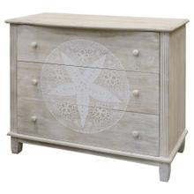 SAND DOLLAR CABINET  34in X 41in X 18in  White Wash Coastal Inspired Cabinet. Three Drawer Dresse