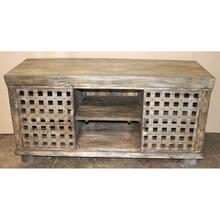 Bengal Manor Metal Lattice Work and Mango Wood Media Console