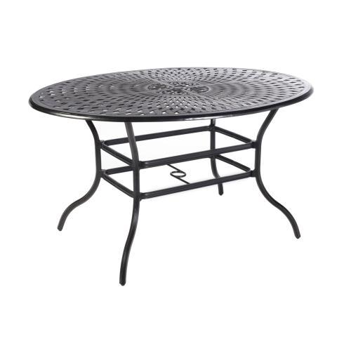 "Bay Leaf 70"" Egg Oval Gathering Table w/ umbrella hole"