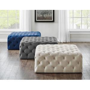 Belham Square Tufted Ottoman, Charcoal