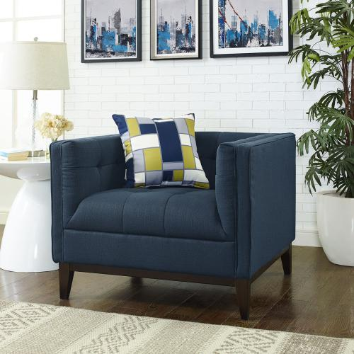 Serve Upholstered Fabric Armchair in Azure