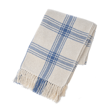 Blue & Natural Plaid Woven Throw
