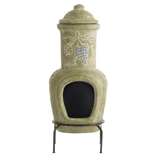 Earthenware 1 Piece Small Bottle Grapes Chiminea w/ lid and stand