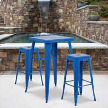 "Commercial Grade 23.75"" Square Blue Metal Indoor-Outdoor Bar Table Set with 2 Square Seat Backless Stools"