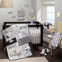 Classic Snoopy 100% Cotton White/Black Fitted Baby Crib Sheet