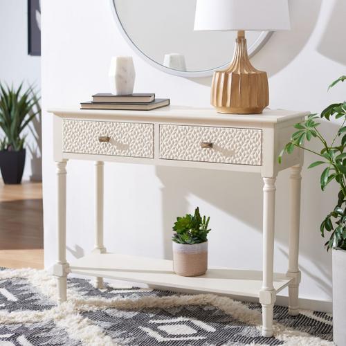 Safavieh - Halton 2 Drawer Console Table - Distressed White