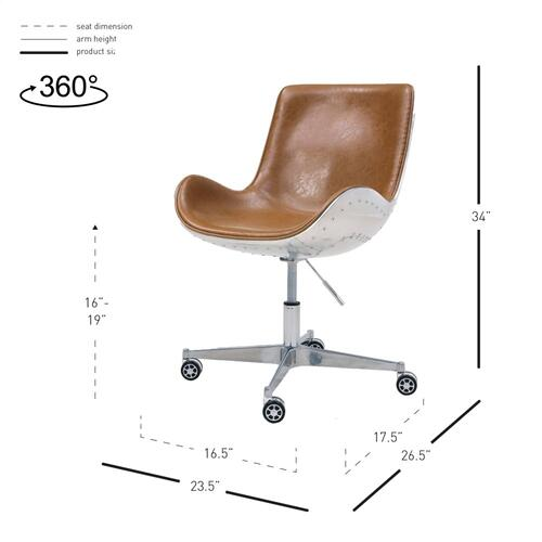 Abner PU Swivel Office Chair Aluminum Frame, Distresed Caramel