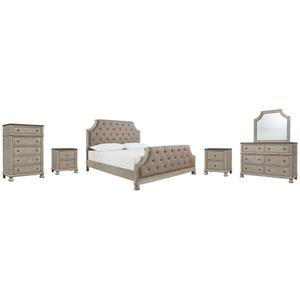 Queen Upholstered Panel Bed With Mirrored Dresser, Chest and 2 Nightstands
