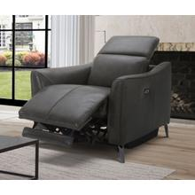 Divani Casa Prairie Dark Grey Leather Electric Recliner Chair with Electric Headrest