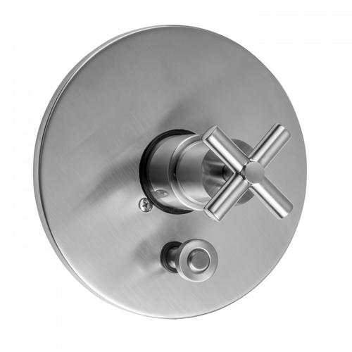 Satin Nickel - Round Plate With Slim Cross Trim For Pressure Balance Cycling Valve With Built-in Diverter (J-DIV-CSV)