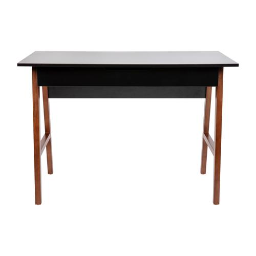 Gallery - Home Office Writing Computer Desk with Drawer - Table Desk for Writing and Work, Black\/Walnut