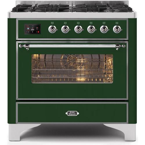 Ilve - Majestic II 36 Inch Dual Fuel Liquid Propane Freestanding Range in Emerald Green with Chrome Trim