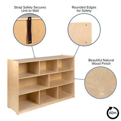 """Flash Furniture - Wooden 8 Section School Classroom Storage Cabinet for Commercial or Home Use - Safe, Kid Friendly Design - 36""""H (Natural)"""
