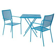 3 Piece Set 1 -steel Folding Table and 2 Steel Chairs In Blue Finish