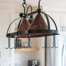 See Details - Dutch Oval Iron Lighted Pot Rack with Copper Shade