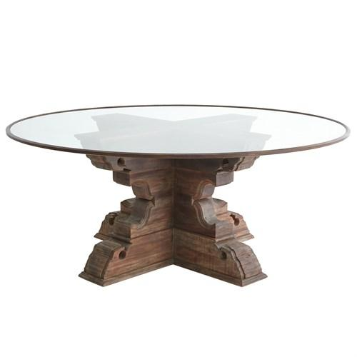 Capital Dining Table-60 Glass Top w/Wood Trim