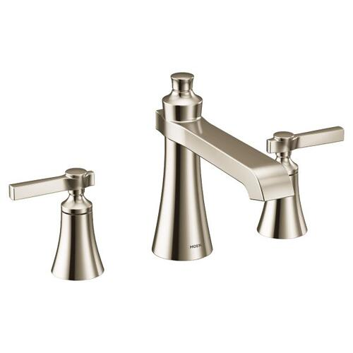 Flara polished nickel two-handle roman tub faucet