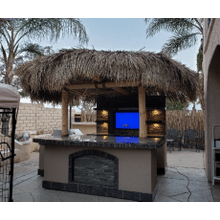 View Product - Outdoor Kitchen Palapa with Built-In BBQ Grill T.V. and Refridgerater