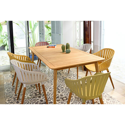 Armen Living - Nassau Outdoor Arm Dining Chairs in Sand Taupe Finish with Wood legs- Set of 2
